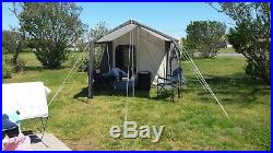 USED Kodiak Canvas Tent with Deluxe Awning Canopy & Screen Enclosure. 6P 9x12