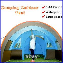 US 8-10Person Family Camping Tunnel Tent Waterproof Shelter Hiking Double Layer
