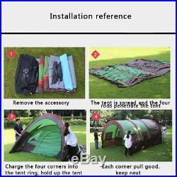 US 8-10 People Big Outdoor Tunnel Tent Waterproof Travel Camping Hiking Shelter
