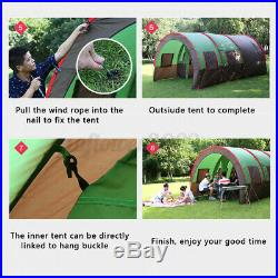 US 8-10 People Outdoor Tunnel Tent Waterproof Double Layer Travel Hiking Shelter
