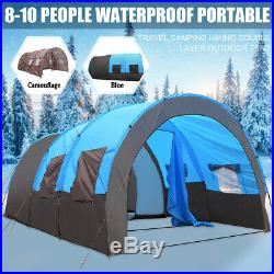 US 8-10 Person Super Big Camping Tent Waterproof Portable Outdoors Hike