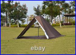US Ship Outdoor Portable Waterproof Pyramid Tent Camp Tipi Tent With Stove Hole