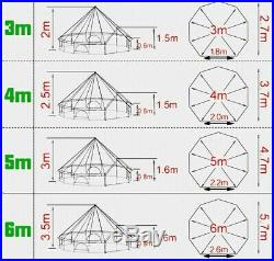 US Shipped 4M 5M Waterproof Oxford Cloth Glamping Yurt Family Camping Bell Tent