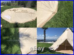 US Shipped Cotton Canvas Camping Teepee Tent Outdoor Canvas Bell Tipi Tent