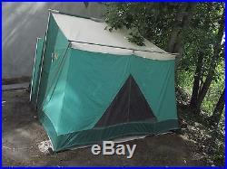 Vtg Coleman Vagabond Canvas Cabin Family Tent 11 X 8 Complete