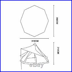 Waterproof 10ft Double-Layer Mesh Teepee Tent Yurt Family Tent 4-Person Glamping