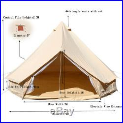 Waterproof 4M Canvas Bell Tent Yurt Glamping Camping Tent Family Yurt Stove Jack