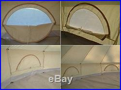 Waterproof 4m Canvas Bell Tent Cotton Sibley Tent Luxury Family Glamping Tent