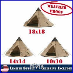 Weatherproof Guide Gear Family Camp Teepee Tent Waterproof Coating Bag Included